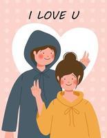 glad Alla hjärtans dag affisch med söta par vektorillustration