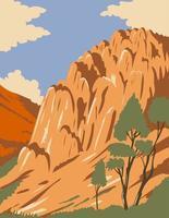 Pinnacles National Park mit Felsformationen in Salinas Valley, Kalifornien, USA, WPA-Plakatkunst vektor