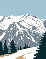 Olympischer Nationalpark mit Gipfel des Mount Olympus in Washington, USA, WPA-Plakatkunst vektor