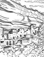 mesa verde nationalpark i colorado med puebloan cliff bostäder träsnitt svart och vitt