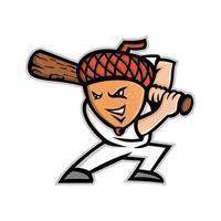 Eichel mit Baseballschläger-Schlagmaskottchen vektor