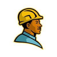 afroamerikansk byggnadsarbetare huvud sidovy retro vektor