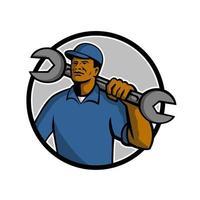 Afroamerikaner Mechaniker hält Schraubenschlüssel Retro Kreis vektor