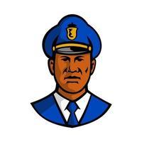 afroamerikansk polis huvudet främre retro vektor