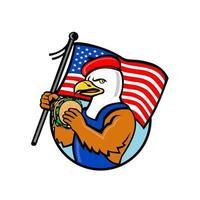 amerikanischer Adler trägt Baskenmütze, die Burger mit USA-Flagge isst vektor