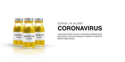 realistisk 3d vektorillustration av vaccin för coronavirus vektor