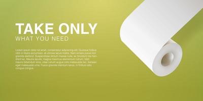Toilettenpapier Panik kaufen. realistischer 3D-Vektorillustrationsschablonenhintergrund. vektor