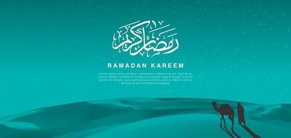 ramadan kareem bakgrund med ökenplats och kamel vektor