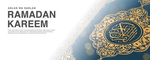 ramadan kareem vektormall med 3d realistisk koran.