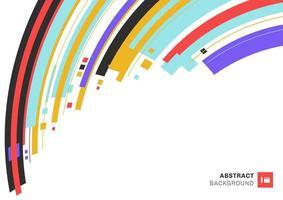 abstrakt färgrikt geometriskt överlappande lager randigt och böjt på vit bakgrund med plats för din text. vektor