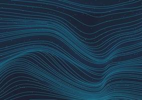 abstraktes leuchtendes blaues Wellenlinienmuster 3d mit Teilchenelementen auf dunklem Hintergrund. vektor