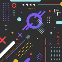 geometrischer bunter Musterkreis der abstrakten Elemente, Dreieck, Linie auf schwarzem Hintergrund. vektor
