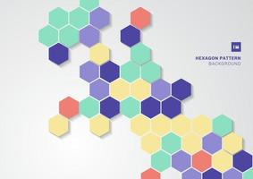 abstrakt färgglada hexagoner formar minimalt mönster på vit bakgrund. vektor