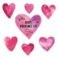 akvarell uppsättning handritade hjärtan. design alla hjärtans dag illustration med bokstäver. vektor