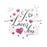 Jag älskar dig text av alla hjärtans dag bakgrund vektor