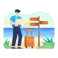 Mann, der Karte am Strand überprüft vektor