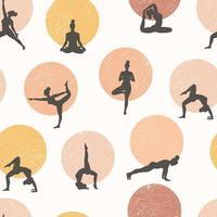 Yoga nahtloses Muster. gesunder Lebensstil. Weltgesundheitstag. Oberflächendesign mit Mädchen der Yoga-Klasse, die meditieren und Sport treiben.