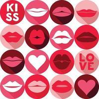 Valentinstag Hintergrundmuster mit Lippen. Pop-Art-Stil Hintergrund in Pink