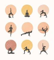 Konturen von Frauen in den Yoga-Posen auf einem Kreishintergrund. Trend zeitgenössisches Plakat.