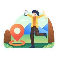 kvinna tar med kartan och når destinationen vektor