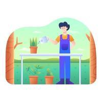 mannen vattnade växterna i trädgården