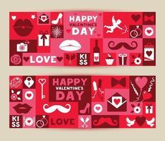uppsättning banners för alla hjärtans festival 14 februari. vektor