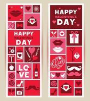 Reihe von Bannern für das Valentinstagfest 14. Februar. vektor