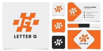 einfaches und minimalistisches Buchstabe g Logo mit Visitenkartenschablone vektor