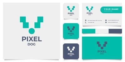 einfaches und minimalistisches Pixel-Hundelogo mit Visitenkartenschablone vektor