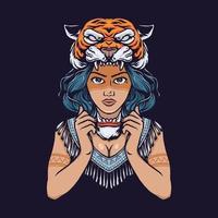 Stammesmädchen mit gezeichneter Illustration der Tigerkopfhand vektor