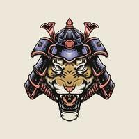 Tiger mit Samurai-Helm vektor