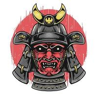 Samurai-Kopf mit Oni-Maske vektor