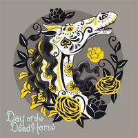 Pferd mit Sugar Skull Style für Tag der Toten, die Haustiere ehren vektor