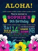 Färgrik polynesisk födelsedagsfest vektorinbjudan