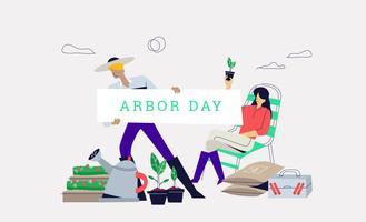Rolig jordbruk i Arbor Dag Banner Bakgrund Vector Illustration