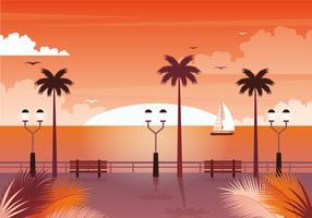 Vektor-Sonnenuntergang-Landschaftsillustration vektor