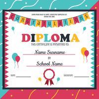 Kindergarten-Diplom-Schablonen-Vektor