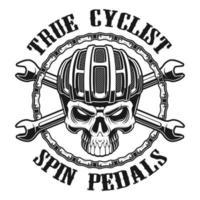 Schwarzer und weißer Entwurf des wahren Radfahrerschädels vektor