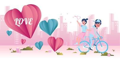 junges Paar Radfahren glücklich zusammen. vektor
