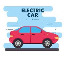 elektrisk röd bil, miljövänligt koncept vektor