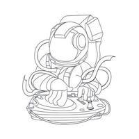Vektor Hand gezeichnete Illustration von DJ Astronauten