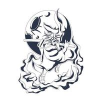 coolt samurai bläckillustration konstverk vektor