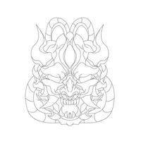 vektor handritad illustration av satan där öga