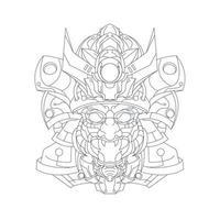 vektor handritad illustration av satan ronin