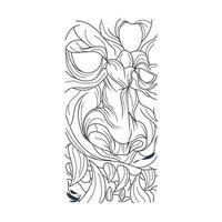 vektor handritad illustration av satan ansikte