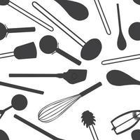 nahtlose Küchenwerkzeuge Muster niedlichen Jahrgang vektor