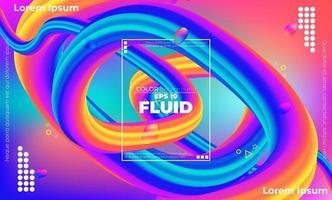 abstraktes fließendes Farbmuster des flüssigen Neonfarben-Farbverlaufshintergrunds mit modernem geometrischem dynamischem Bewegungsstil geeignet für Tapete, Fahne, Hintergrund, Karte, Buchillustration, Landingpage, vektor