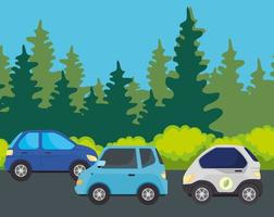 elbilar på vägen, miljövänligt koncept vektor