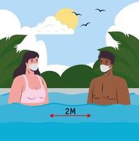 interracial par i baddräkter, social distansering och bär ansiktsmasker på stranden vektor