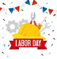 Happy Labour Day Urlaubsfeier Banner mit Werkzeugen und Helm vektor